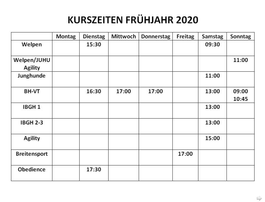 Kurszeiten Frühjahr 2020 1