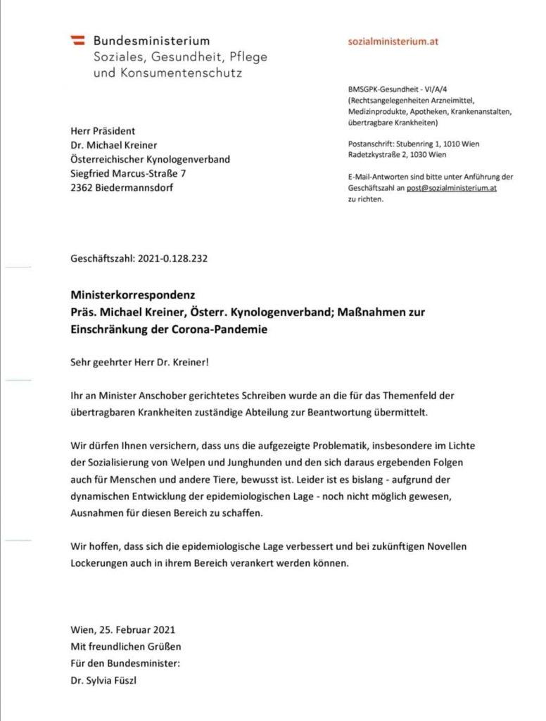 Stellungnahme Gesundheitsministerium 1